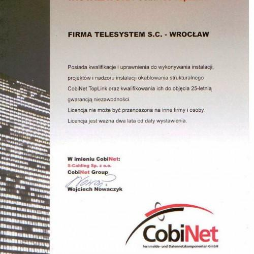 Telesystem cobinet certyfikat